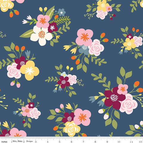 SALE Bloom and Grow Main C10110 Navy - Riley Blake Designs - Floral Flowers Blue -  Quilting Cotton Fabric