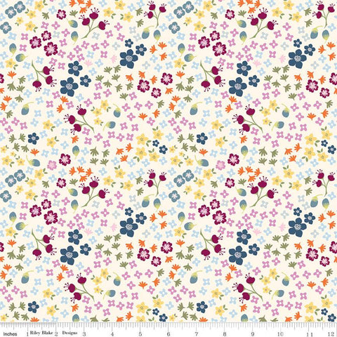 SALE Bloom and Grow Floral C10112 Cream - Riley Blake Designs - Small Flowers -  Quilting Cotton Fabric