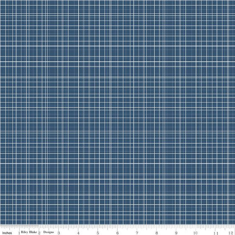 Bloom and Grow Plaid C10115 Navy - Riley Blake Designs - Cream Blue Thin Lines Geometric -  Quilting Cotton Fabric