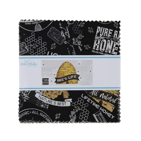 "Bee's Life Charm Pack 5"" Stacker Bundle - Riley Blake Designs - 42 piece Precut Pre cut - Honeybees Bees - Quilting Cotton Fabric"