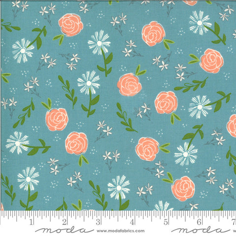 Balboa Wild Rose 37591 Ocean - Moda Fabrics - Floral Flowers Blue Turquoise - Quilting Cotton Fabric