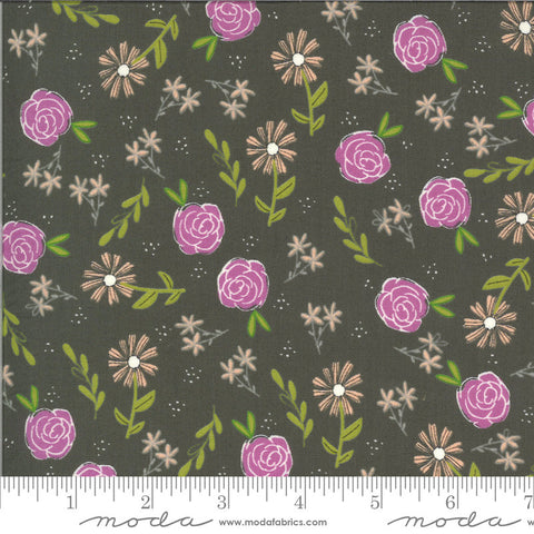 Balboa Wild Rose 37591 Charcoal - Moda Fabrics - Floral Flowers Gray - Quilting Cotton Fabric