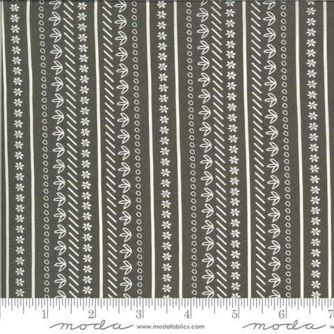 Balboa Sunday Stroll 37595 Charcoal - Moda Fabrics - Flowers Floral Striped Stripes Gray - Quilting Cotton Fabric