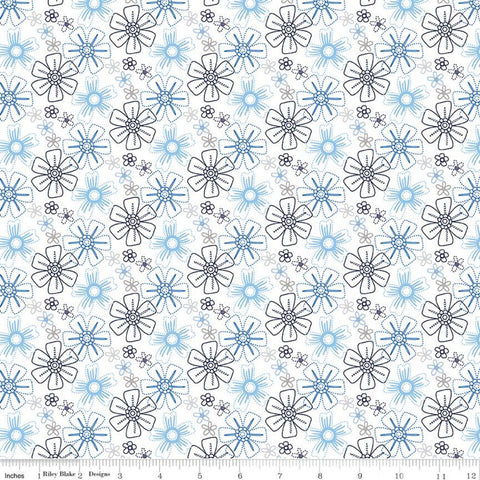 Blue Stitch Floral C10063 White - Riley Blake Designs - Tossed Printed Stitched Flowers Blue Gray White -  Quilting Cotton Fabric