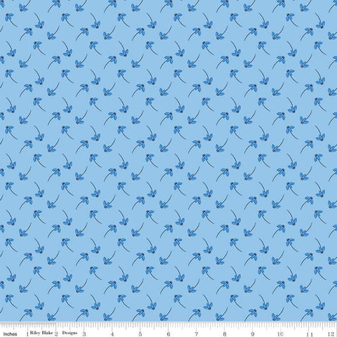 Blue Stitch Daisy C10065 Sky - Riley Blake Designs - Floral Flowers Daisies Blue -  Quilting Cotton Fabric