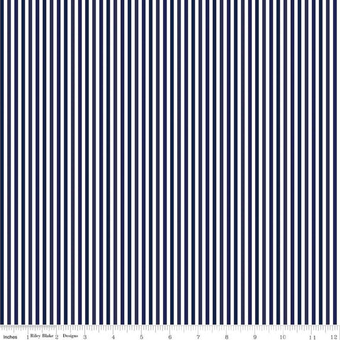 "Blue Stitch Stripes C10067 Navy - Riley Blake Designs - 1/8"" Blue White Stripes Striped Stripe -  Quilting Cotton Fabric"