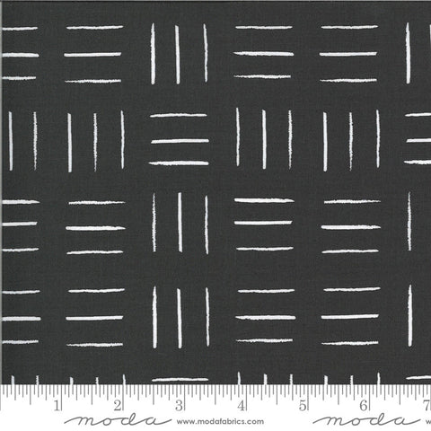 Zoology Opposing Lines 48304 Charcoal - Moda Fabrics - Geometric Black with Ivory Natural Off White - Quilting Cotton Fabric
