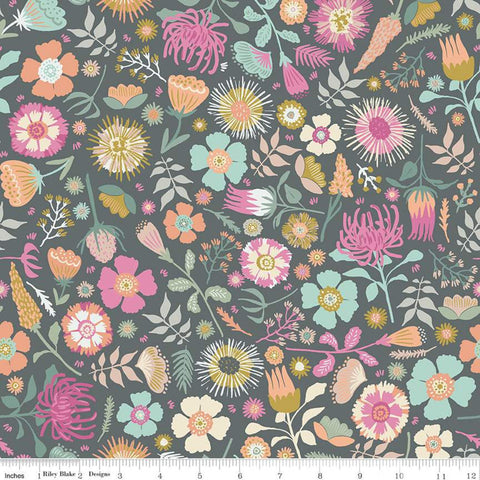 SALE Meadow Lane Main C10120 Gray - Riley Blake Designs - Floral Flowers -  Quilting Cotton Fabric