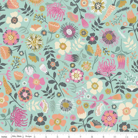 SALE Meadow Lane Main C10120 Mint - Riley Blake Designs - Floral Flowers Green -  Quilting Cotton Fabric