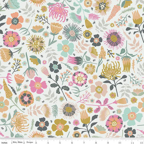 Meadow Lane Main C10120 Off White - Riley Blake Designs - Floral Flowers - Quilting Cotton Fabric