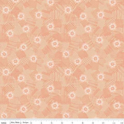 SALE Meadow Lane Scribbled Floral C10123 Melon - Riley Blake Designs - Floral Flowers Tone-on-Tone Orange -  Quilting Cotton Fabric