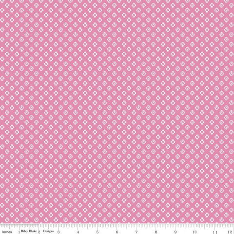 SALE Meadow Lane Dashed Daisies C10124 Pink - Riley Blake Designs - Floral Flowers Daisy Geometric -  Quilting Cotton Fabric