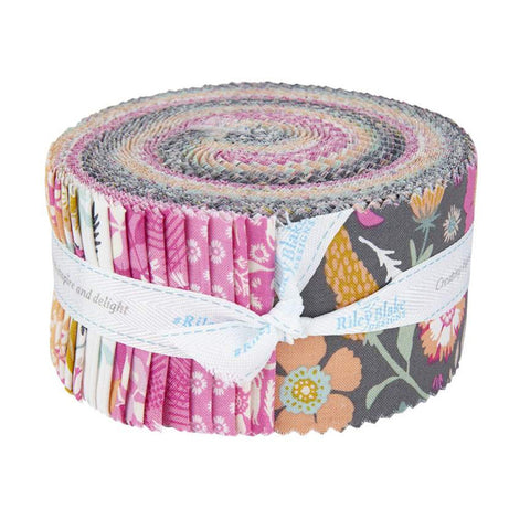 Meadow Lane 2.5 Inch Rolie Polie Jelly Roll 40 pieces Riley Blake Designs - Floral - Precut Pre cut Bundle - Quilting Cotton Fabric