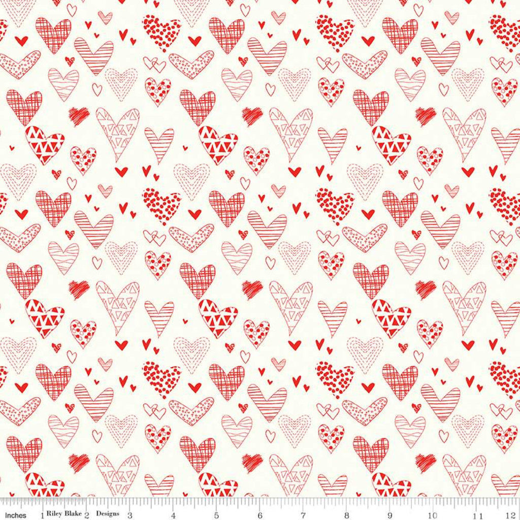 SALE From the Heart Hearts C10051 Cream - Riley Blake Designs - Valentine's Red Pattern-Filled Hearts on Cream - Quilting Cotton Fabric