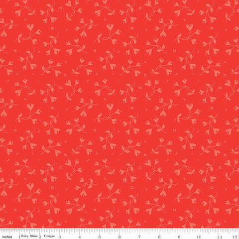 SALE From the Heart Flowers C10055 Red - Riley Blake Designs - Valentine's Heart-Shaped Flowers Floral Tone-on-Tone - Quilting Cotton Fabric