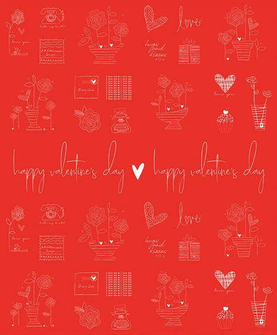 SALE From the Heart Panel P10058 Red by Riley Blake Designs - Happy Valentine's Day Flowers Hearts Telephones Gifts Love  - Cotton Fabric