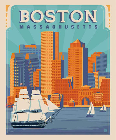 SALE Destinations Poster Panel P10162 Boston by Riley Blake Designs - Boston Massachusetts Waterfront Skyline - Quilting Cotton Fabric