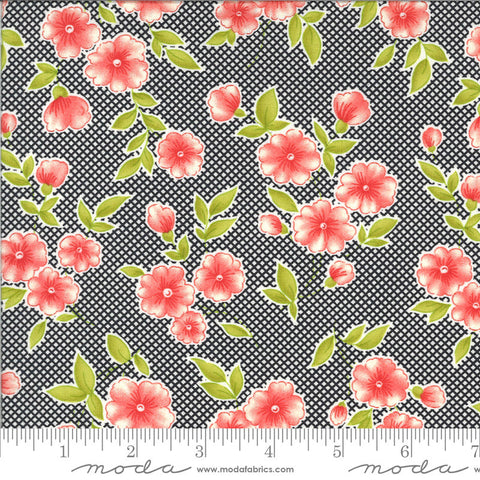 Figs and Shirtings Pinafore 20390 Raven - Moda Fabrics - Floral Flowers Diagonal Check Background Black Natural - Quilting Cotton Fabric