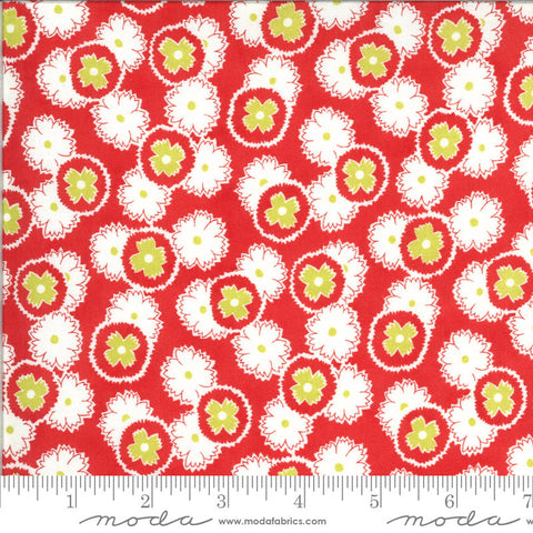 Figs and Shirtings Jelly and Jam 20392 Barn Red - Moda Fabrics - Floral Flowers Red Green Natural - Quilting Cotton Fabric
