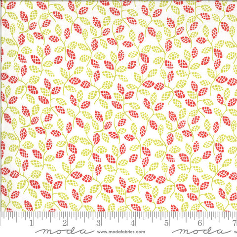 Figs and Shirtings Sugar Sack 20394 Meadow - Moda Fabrics - Floral Leaves Sprigs Green Red on Natural - Quilting Cotton Fabric