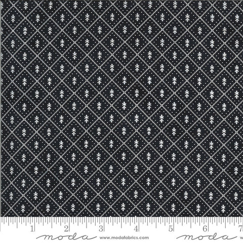 Figs and Shirtings Nanas Pajamas 20397 Raven - Moda Fabrics - Geometric Diamonds Natural Off-White on Black - Quilting Cotton Fabric