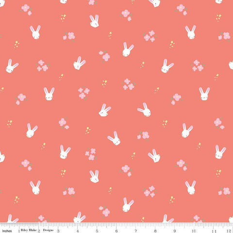 SALE Easter Egg Hunt Bunnies C10273 Coral - Riley Blake Designs - Spring Flowers Bunny Heads on Pink/Orange  - Quilting Cotton Fabric