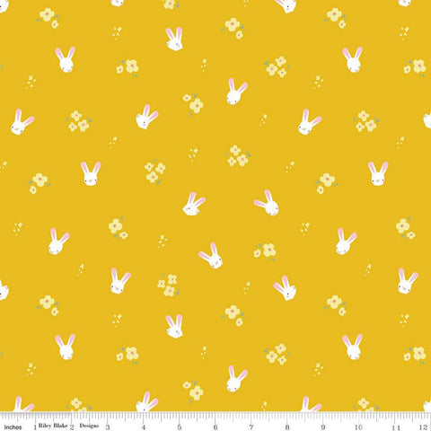 SALE Easter Egg Hunt Bunnies C10273 Mustard - Riley Blake Designs - Spring Flowers Bunny Heads on Yellow Gold  - Quilting Cotton Fabric