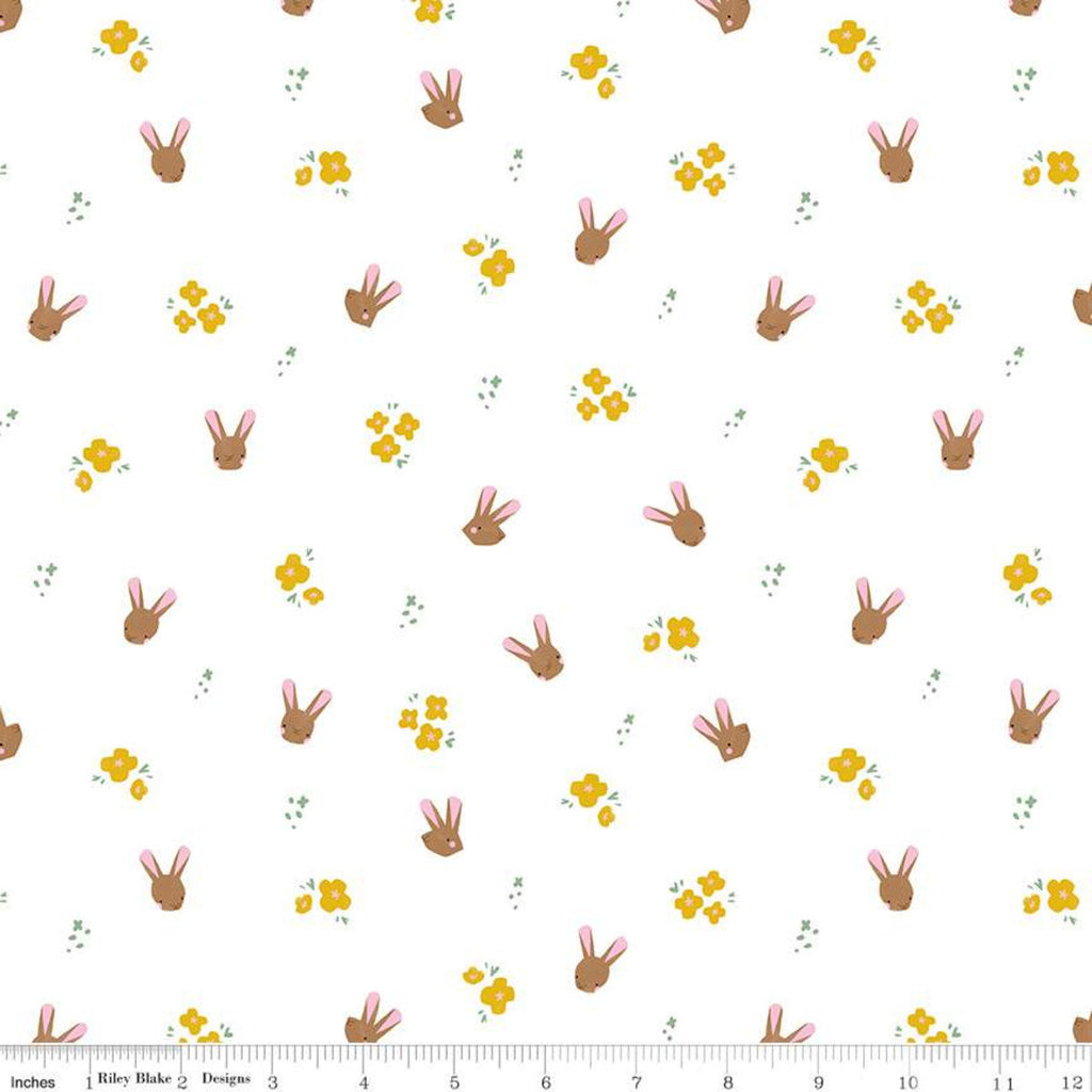 Easter Egg Hunt Bunnies C10273 White - Riley Blake Designs - Spring Flowers Bunny Heads - Quilting Cotton Fabric