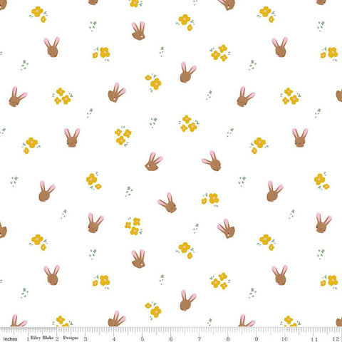 SALE Easter Egg Hunt Bunnies C10273 White - Riley Blake Designs - Spring Flowers Bunny Heads - Quilting Cotton Fabric