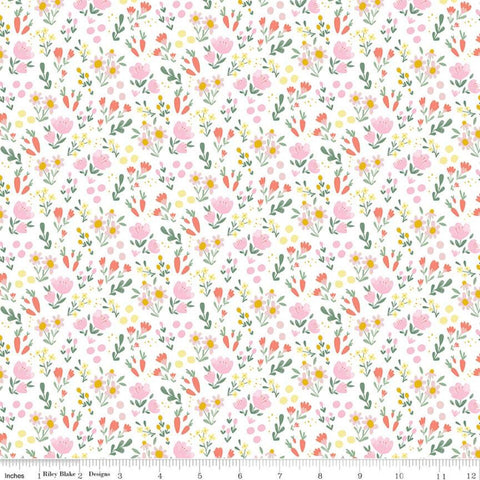 Easter Egg Hunt Floral C10274 White - Riley Blake Designs - Spring Flowers Dots Carrots - Quilting Cotton Fabric