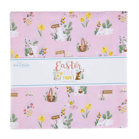 "SALE Easter Egg Hunt Layer Cake 10"" Stacker Bundle - Riley Blake Designs - 42 piece Precut Pre cut - Bunnies Eggs - Quilting Cotton Fabric"