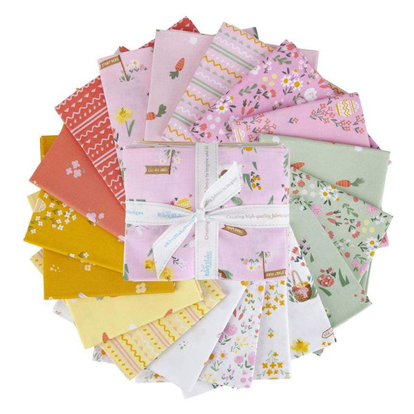 Easter Egg Hunt Fat Quarter Bundle 18 pieces - Riley Blake Designs - Pre Cut Precut - Eggs Bunnies - Quilting Cotton Fabric