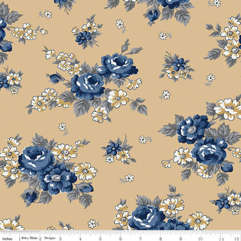 SALE Delightful Main Gold - Riley Blake Designs - Floral Flowers - Quilting Cotton Fabric