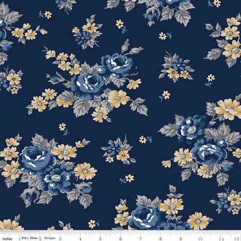 SALE Delightful Main C10250 Navy - Riley Blake Designs - Floral Flowers Blue - Quilting Cotton Fabric