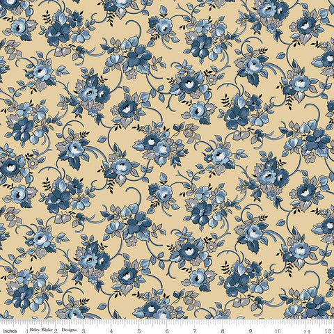 SALE Delightful Bouquet C10251 Gold - Riley Blake Designs - Floral Flowers - Quilting Cotton Fabric