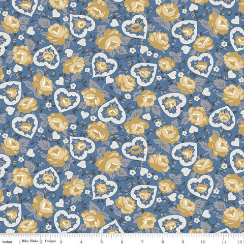 SALE Delightful Hearts C10252 Blue - Riley Blake Designs - Floral Flowers - Quilting Cotton Fabric