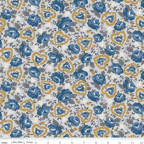 SALE Delightful Hearts C10252 Gray - Riley Blake Designs - Floral Flowers - Quilting Cotton Fabric