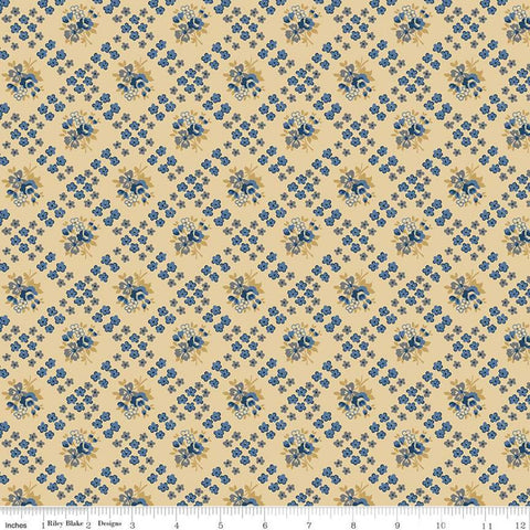 SALE Delightful Bias Floral C10254 Gold - Riley Blake Designs - Floral Flowers Diagonal Lattice - Quilting Cotton Fabric