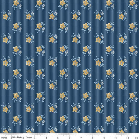 Delightful Stripes C10255 Navy - Riley Blake Designs - Floral Flowers on Striped Background Blue - Quilting Cotton Fabric