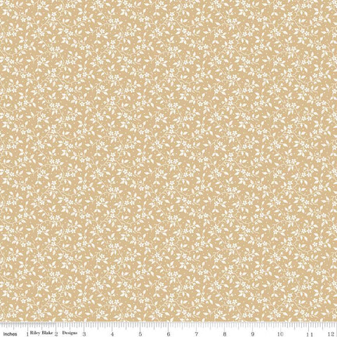 SALE Delightful Vines C10257 Gold - Riley Blake Designs - Floral Flowers White Flowers Vines on Gold - Quilting Cotton Fabric