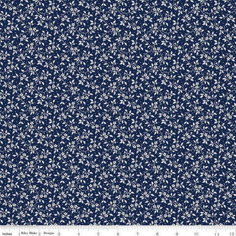 Delightful Vines C10257 Navy - Riley Blake Designs - Floral Flowers White Flowers Vines on Blue - Quilting Cotton Fabric