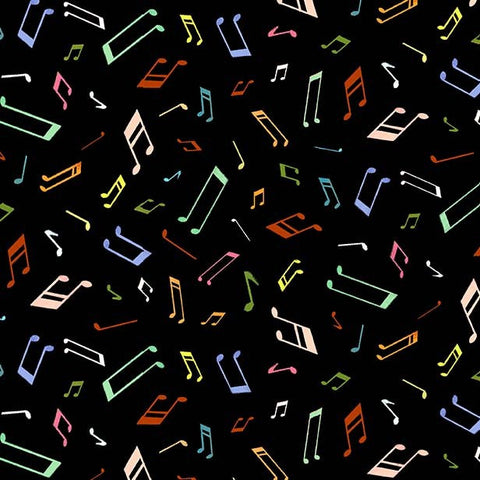 Woodland Musicians Musical Notes DC9013 Black - The Little Red House for Michael Miller - Music - Quilting Cotton Fabric