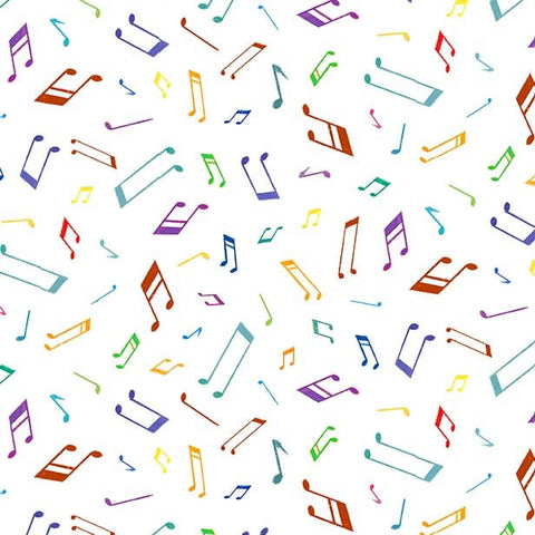 Woodland Musicians Musical Notes DC9013 Bright White - The Little Red House for Michael Miller - Music - Quilting Cotton Fabric