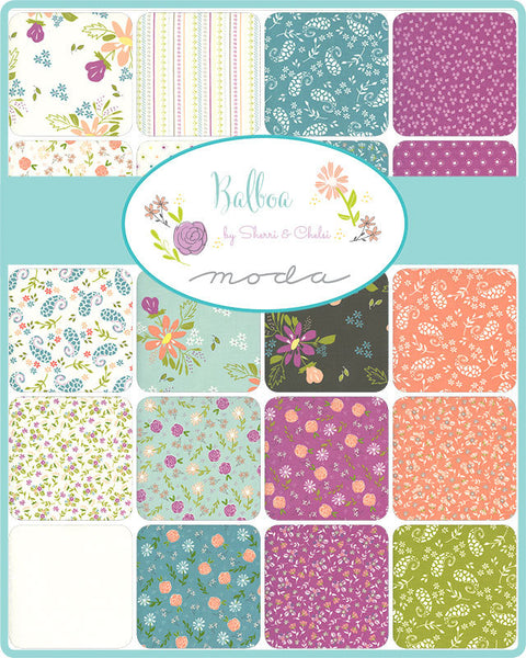 "Balboa Charm Pack 5"" Stacker Bundle - Moda Fabrics - 42 piece Precut Pre cut - Floral Flowers - Quilting Cotton Fabric"