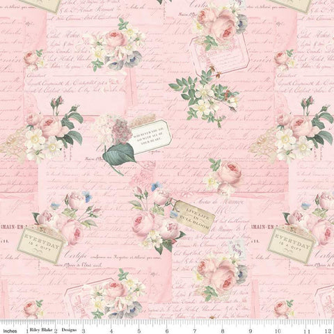 Rose and Violet's Garden Party C10411 Blush  - Riley Blake Designs - Floral Flowers Vintage Roses Text- Quilting Cotton Fabric