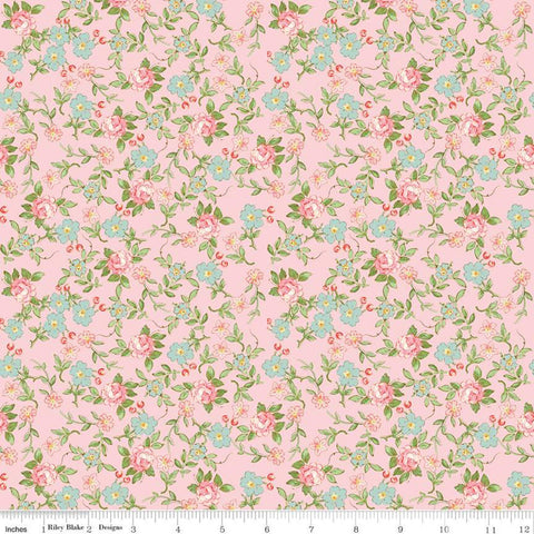 Rose and Violet's Garden Sweet Blossoms C10413 Blush - Riley Blake Designs - Floral Flowers Sprigs Vintage Pink - Quilting Cotton Fabric