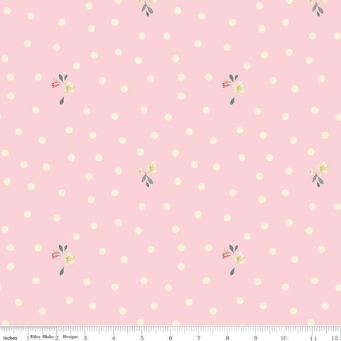 "SALE Rose and Violet's Garden Dots C10415 Blush - Riley Blake Designs - 1/4"" Polka Dots Flowers Floral Cream Pink - Quilting Cotton Fabric"