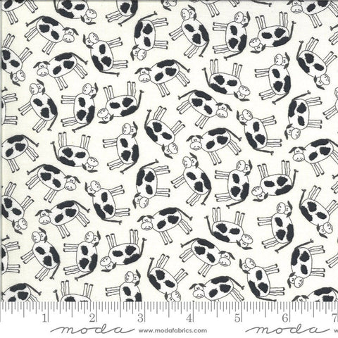 Animal Crackers Cows 5801 Vanilla - Moda Fabrics - Children's Juvenile Cow Black Natural Off-White   - Quilting Cotton Fabric