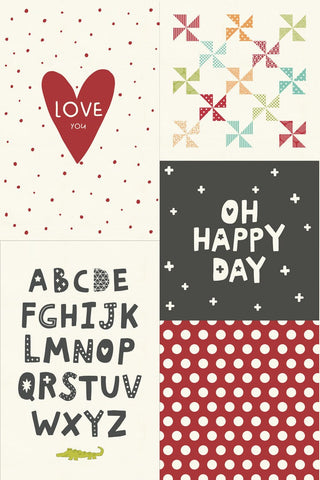 Animal Crackers Sampler Panel 5811 Multi - Moda - Oh Happy Day Dots Windmills Alphabet Love You Heart Off-White - Quilting Cotton Fabric