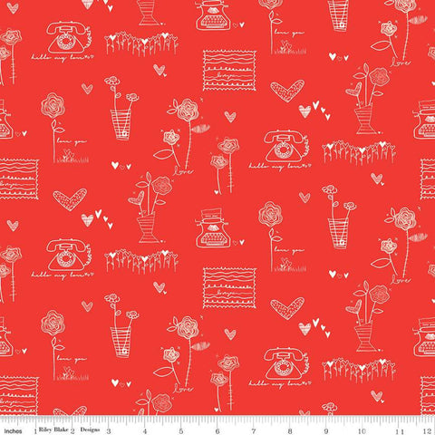 SALE From the Heart Main C10050 Red - Riley Blake Designs - Valentine's Cream Flowers Typewriters Hearts Telephones - Quilting Cotton Fabric